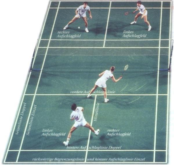 Aufbau eines Badmintonfeldes